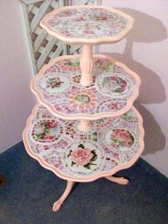 Shabby Mosaic 3 Tier Table-SOLD