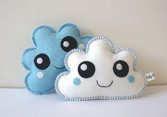 Kawaii Softies, Kawaii Clouds, Cloud Soft Toys, White and Baby Blue, set of two