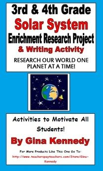 3rd/4th Grade Solar System Enrichment Research Project/writing Activity Fun