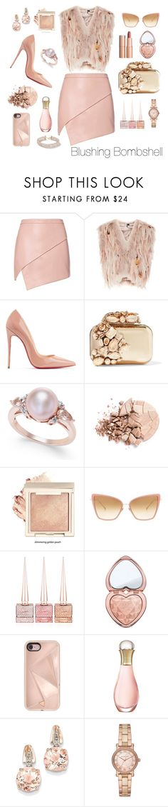 """Blushing Bombshell"" by miss-shan-nicole ❤ liked on Polyvore featuring Michelle Mason, Topshop, Christian Louboutin, Jimmy Choo, Anastasia Beverly Hills, Charlotte Tilbury, Dita, Too Faced Cosmetics, Rebecca Minkoff and Christian Dior"