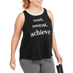 Plus Size F.I.T. Women's Plus Fitspiration Work Sweat Achieve Workout Tank, Size: 1XL, Black