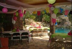 """If only to have this patio!!!  Baby Shower Polka Dots / Baby Shower/Sip & See """"Hot Pink and Lime Green""""   Catch My Party"""