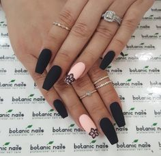 The latest and most creative designs for black nails are perfect for fall and winter . - The latest and most creative designs for black nails are perfect for fall and winter, # o - Black Coffin Nails, Matte Black Nails, Pink Nails, Gel Nails, Nail Polish, Brown Nails, Matte Nail Art, Color Nails, Matte Red