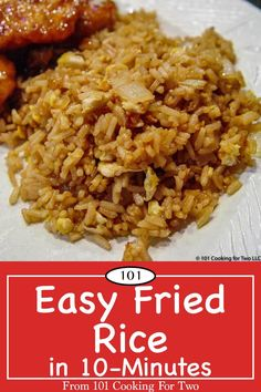 "An easy fried rice recipe using Minute Rice for that ""eat in"" Chinese meal. Done in with these easy step by step photo instructions. via rice recipe easy chinese food eggs Easy Fried Rice in from 101 Cooking for Two Fried Rice With Egg, Chinese Egg Fried Rice, Fried Rice Seasoning, Mexican Fried Rice, Quick Fried Rice, Japanese Fried Rice, Healthy Fried Rice, Asian Food Recipes, Healthy Recipes"
