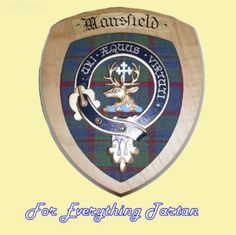Clan Mansfield Tartan Woodcarver Wooden Wall Plaque Mansfield Crest 7 x 8