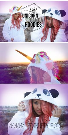 DIY Unicorn and Panda Hoodie {Halloween Costume} | www.annlestyle.com