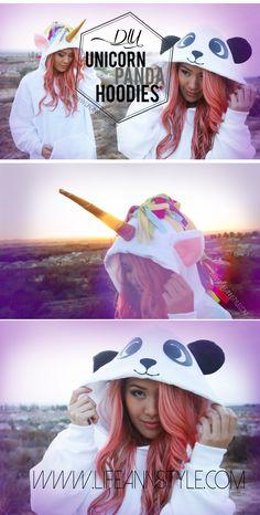 DIY Unicorn and Panda Hoodie {Halloween Costume}   www.annlestyle.com