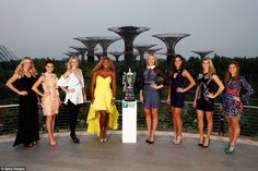 From left to right, Caroline Wozniacki, Agnieszka Radwanska, Petra Kvitova, Serena William...