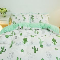 Simple style cactus Crown penguin bedding set cotton 4pcs bedding bed linen king queen twin size Quilt/duvet cover set bedsheets-in Bedding Sets from Home & Garden on Aliexpress.com | Alibaba Group