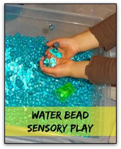 Water bead sensory play. These feel SO AMAZING to play with that I want to put my hands in the sensory bin as much as my kids do! If you haven't done water bead sensory play, you need to try it out! These are super soothing to the touch. #sensoryplay #handsonlearning #ece || Gift of Curiosity