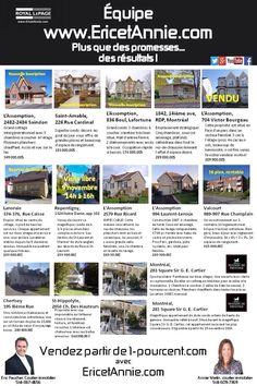 Publicité hebdomadaire www.ericetannie.com Finance, Condo, Rue, Unique Selling Proposition, Floor, Finance Books, Economics
