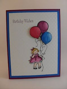 All That Scrap: Greeting Card Kids-birthday.  Cut her out/leave off heart, add balloons..viola!