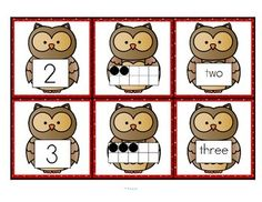 This is a set of number cards with an owl theme, Three cards for each number - the number, a ten-frame representation, and the number word. Owls Kindergarten, Preschool Math, Preschool Themes, Numbers Preschool, Owl Activities, Owl Classroom, Classroom Decor, 10 Frame, Ten Frames