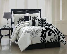 9 Piece Queen Arezzo Black and White Bedding Comforter Set