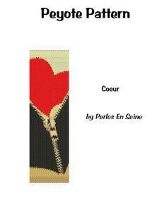 Peyote Pattern Heart and Zipper Cuff Bracelet von PerlesEnSeine
