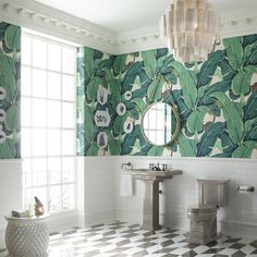 If you're a fan of bold tropical design, try incorporating palm leaf wallpaper and bohemian room décor. To complete the look, Kohler's Tresham ice grey pedestal sink and matching grey toilet neutralize this exuberant bathroom space. Palm Leaf Wallpaper, Tropical Wallpaper, Kohler Bathroom, Kohler Faucet, Master Bathroom, Funky Bathroom, Grey Toilet, Mirrored Bedroom Furniture, Downstairs Toilet