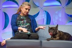 Carrie Fisher regales the audience at the Star Wars celebration with tales of partying with the Rolling Stones and playing Princess Leia with a hangover. White French Bulldogs, French Bulldog Facts, French Bulldog Puppies, Carrie Frances Fisher, Girl Dog Names, Gary Fisher, Every Dog Breed, Girl And Dog, Tom Hardy