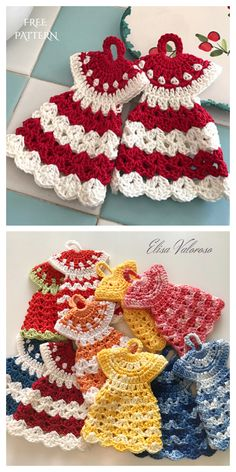 Vintage Dress Potholder Crochet Free Patterns Crochet Hot Pads, Cute Crochet, Crochet Hooks, Crochet Baby, Crochet Potholder Patterns, Crochet Dishcloths, Knitting Patterns, Craft Patterns, Sewing Patterns
