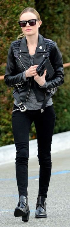 Who made  Kate Bosworth's square sunglasses, black leather jacket, clutch handbag, and ankle boots?