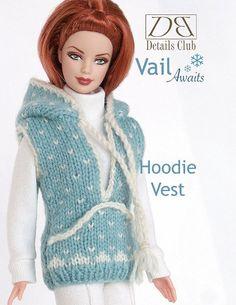 "Knitting pattern for 11 1/2"" doll (Barbie): Hoodie Vest"