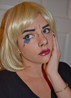 Here is a step-by-step Roy Lichtenstein inspired Halloween comic book makeup tutorial.  Easy costume idea.
