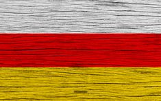 Download wallpapers Flag of South Ossetia, 4k, Asia, wooden texture, national symbols, South Ossetia flag, art, South Ossetia