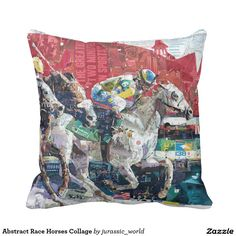 Abstract Race Horses Collage Pillow