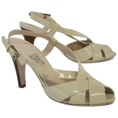 Pre-owned Salvatore Ferragamo Beige Patent Leather Criss-cross Heels... ($165) ❤ liked on Polyvore featuring shoes, sandals, none, salvatore ferragamo sandals, adjustable shoes, beige shoes, criss-cross shoes and beige patent shoes