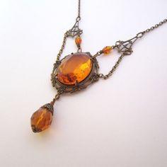 Victorian Jewelry  Art Nouveau Necklace  Amber Honey by ArxRosarum, €58.00