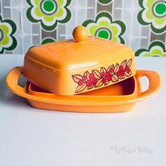 Vintage Retro 1970s EMSA Orange Plastic Butter Dish W.German Made by UpStagedVintage on Etsy
