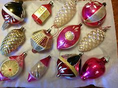 vintage pink indent glass ornaments   VINTAGE-ANTIQUE-BLOWN-GLASS-FIGURAL-CHRISTMAS-ORNAMENTS-PINECONE ...