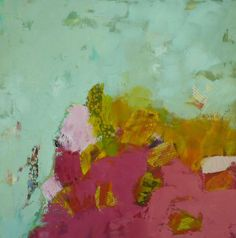 abstract oil painting modern art pink and green- my fave palette.