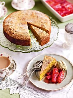 Slow-roasting means the pink of the rhubarb becomes gorgeously enhanced. With the ice cream and pistachio cake too, this becomes a must-try dessert recipe.