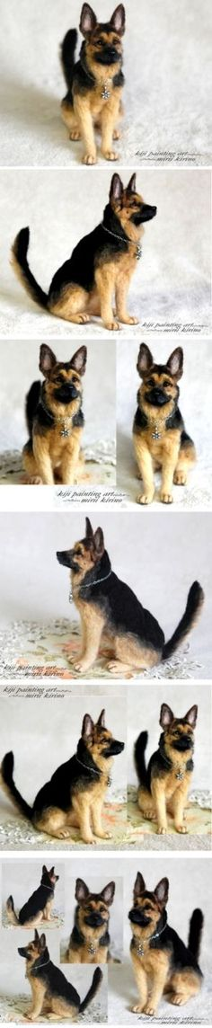 """Felted German Shepherd dog. Always make sure your craft materials and supplies are animal-free/cruelty-free (""""vegan""""). Do NOT use felt made from wool!  Kindness and non-exploitation are always the better choice in creativity."""