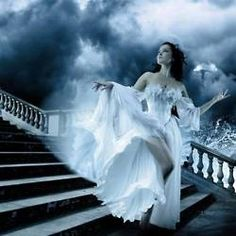 Gown, Stairs, Storm... Just a fairytale image.
