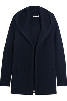 CHINTI & PARKER WOMAN MERINO WOOL AND CASHMERE-BLEND HOODED CARDIGAN NAVY. #chintiparker #cloth #