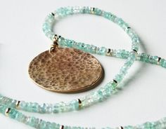 gold moon necklace with apatite aquamarine and gold filled highlights by TheSpiralRiver, $259.00