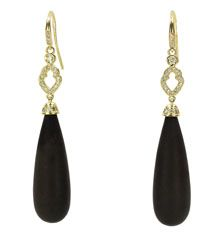 """A & Furst 18 karat yellow gold """"Joie De Vivre"""" drop earrings with 17.75 carats of Jet and diamonds totaling .26 carats with wire backs.  Available for purchase online at www.leonardojewelers.com and in our Red Bank, NJ and Elizabeth, NJ stores."""