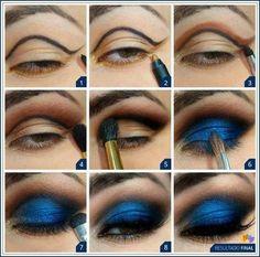 Blue smokey eye make up Eye Makeup Steps, Makeup Tips, Beauty Makeup, Hair Makeup, Makeup Tutorials, Makeup Ideas, Eyeshadow Tutorials, Makeup Primer, Makeup Designs