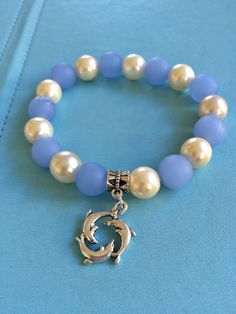 Sea Glass Pearl and Dolphin Bracelet