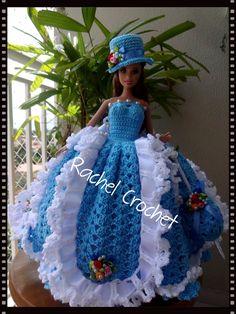 #Anne #Cléa5 #Doll #Crochet #Vestido #Dress #Barbie #Chapéu #Skirt #RaquelGaucha #Festa #Party #Muñeca