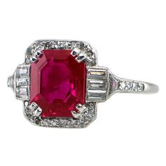 Magnificent certified natural Burmese ruby and diamond Art Deco ring from the 1920's.