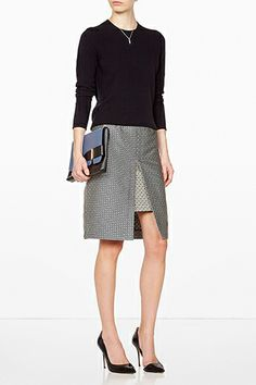 29 Pieces To Look Amazing At Work #rSea NY Versailles Jacquard Blue Print Combo Split Skirt  Wearing this figure-flattering, A-line slit skirt (with patterned modesty panel) at the office means more jacquard and less leg.
