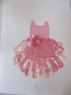 Handprints - cute idea for a ballerina birthday party craft. This would be cute to make of everyone's handprint as a keepsake of the party, or to make with Rosie's and use as invites! Projects For Kids, Crafts For Kids, Arts And Crafts, Diy Crafts, Card Crafts, Ballerina Birthday Parties, Ballerina Party, Footprint Crafts, Handprint Art