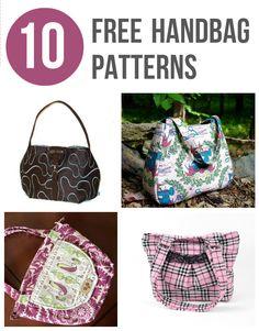 10 Free Handbag Patterns - sewing patterns for purses and handbags free sewing patterns (aff link)