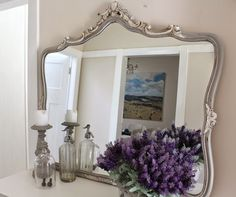 French painted ornate mirror by lilyfield life French grey and white-gorgeous! White Ornate Mirror, French Mirror, Chalk Paint Mirror, Mirror Painting, Furniture Makeover, Diy Furniture, French Furniture, How To Make Mirror, Vintage Furniture For Sale