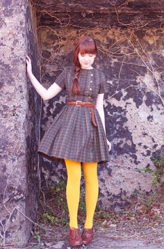 yellow tights and vintage dress