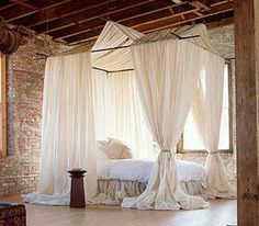 What a canopy curtain bed!