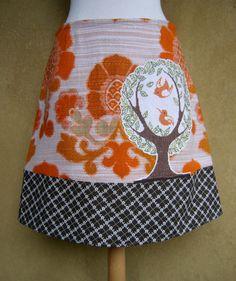 Birds embroidery skirt, A-line skirt, birds appliqué skirt, vintage fabric skirt, lined skirt, orange brown white, size Small door LUREaLURE op Etsy
