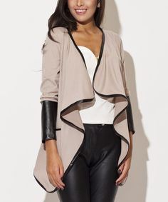 Take a look at this Beige Faux Leather-Trim Open Cardigan on zulily today!